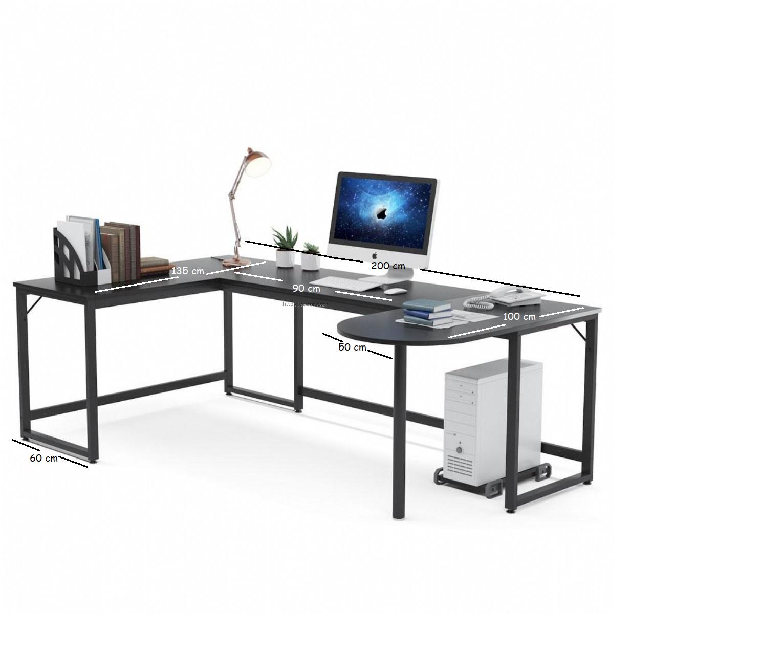 Zizuva Tasarım U Köşe Ev Ofis Çocuk Odası Metal Bilgisayar Çalışma Masası