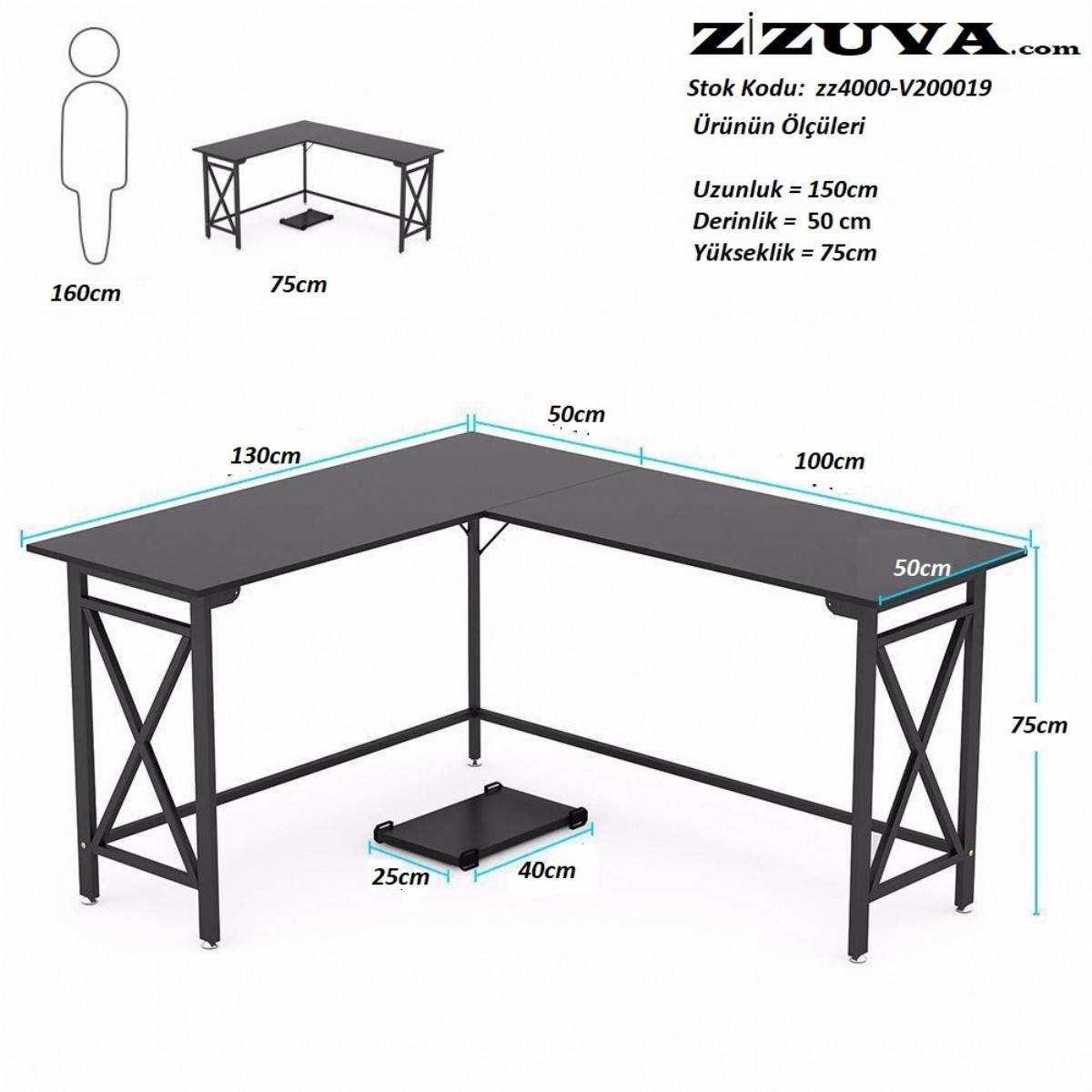 Zizuva Tasarım L Köşe Ev Ofis Metal Bilgisayar Çalışma Masası ve Kasa Taşıyıcı