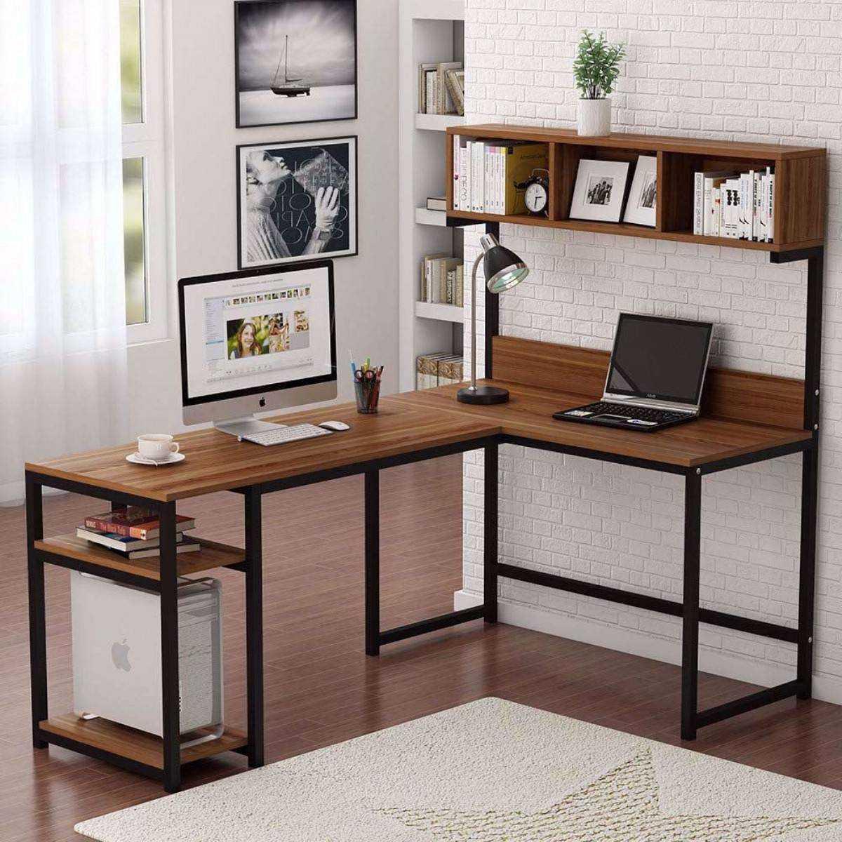 Zizuva Ceviz Renk L Köşe Ev Ofis  Raflı Kitaplıklı Metal Çalışma Masası