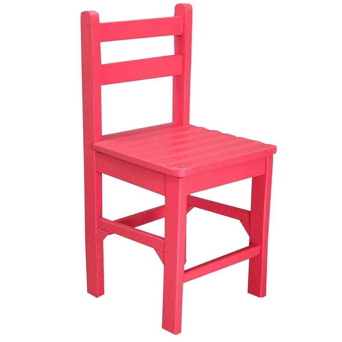 Zizuva Tasarım Ahşap Kırmızı Çocuk Sandalyesi