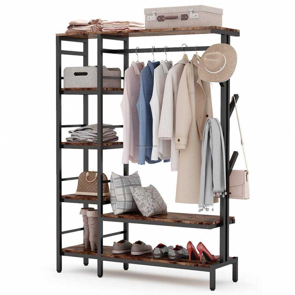Zizuva Tasarım Giyinme Odası Butik Ayakkabı Elbise Düzenleyici Askılık Vestiyer