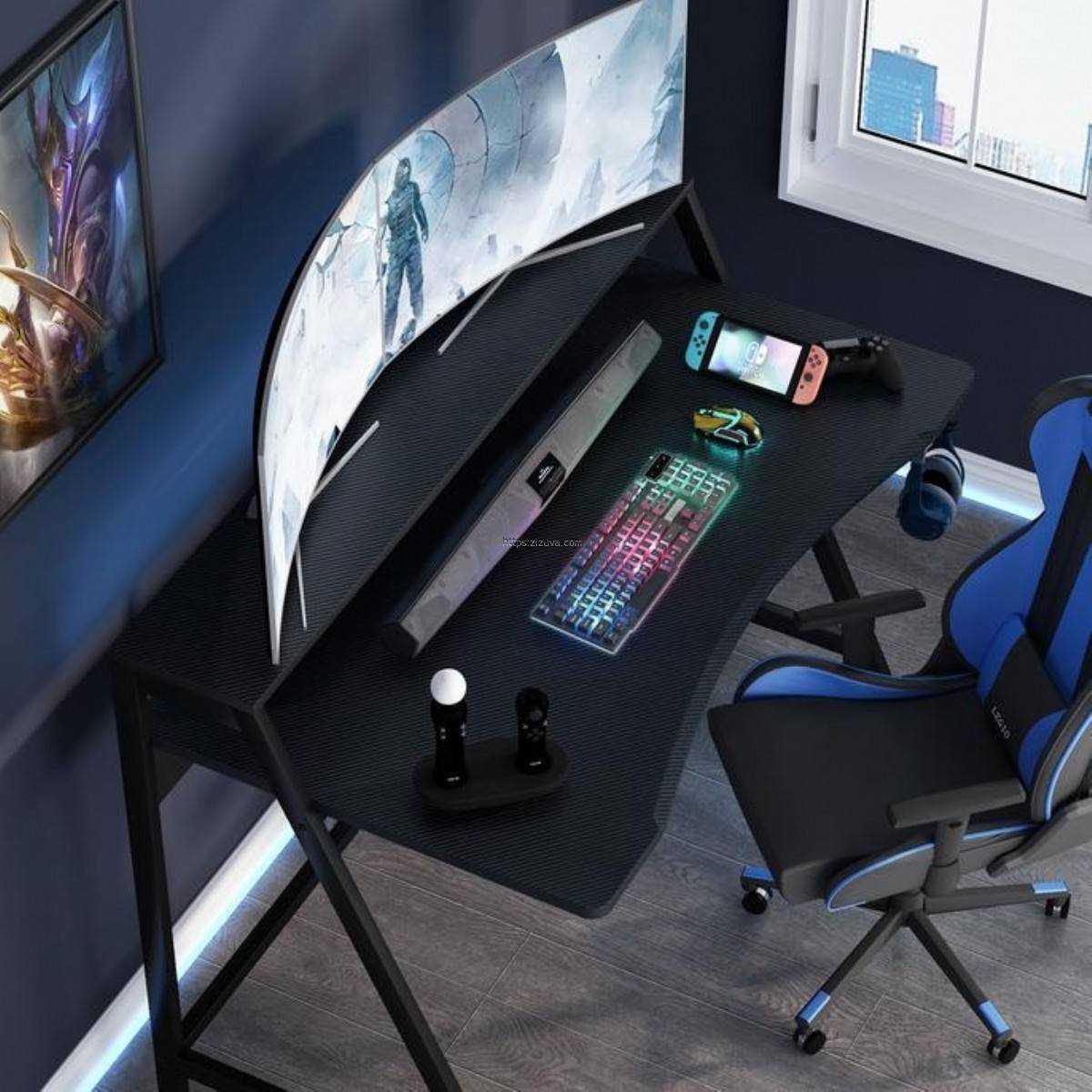 Zizuva Tasarımlı Ev Ofis Bilgisayar Oyuncu Gaming Monitör Metal Çalışma Masası