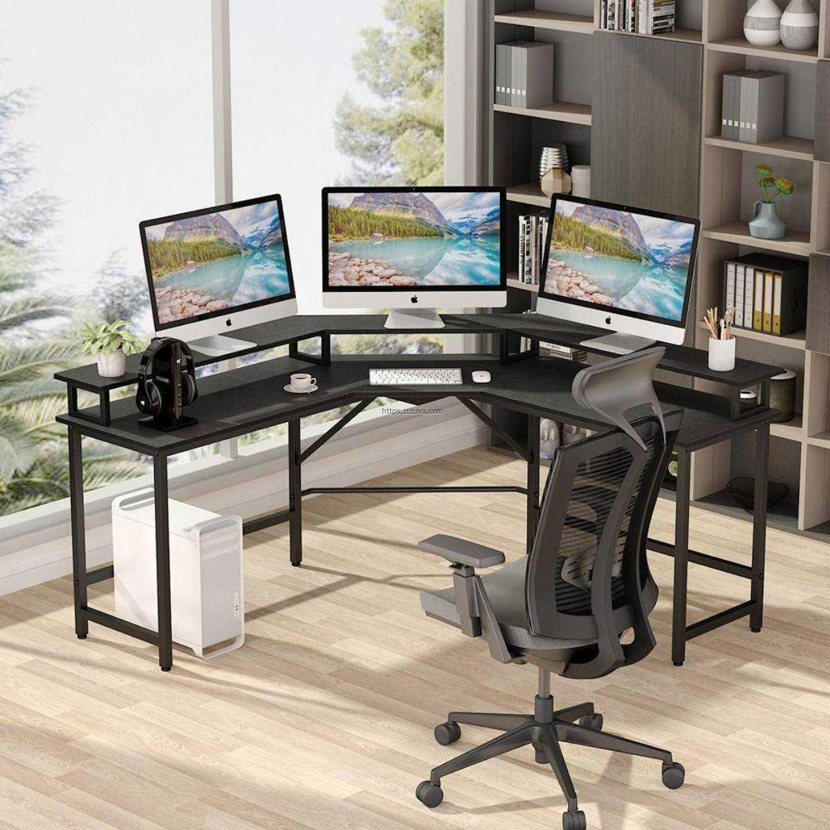 Zizuva Tasarım Siyah L Köşe Ev Ofis Metal Bilgisayar Çalışma Masası