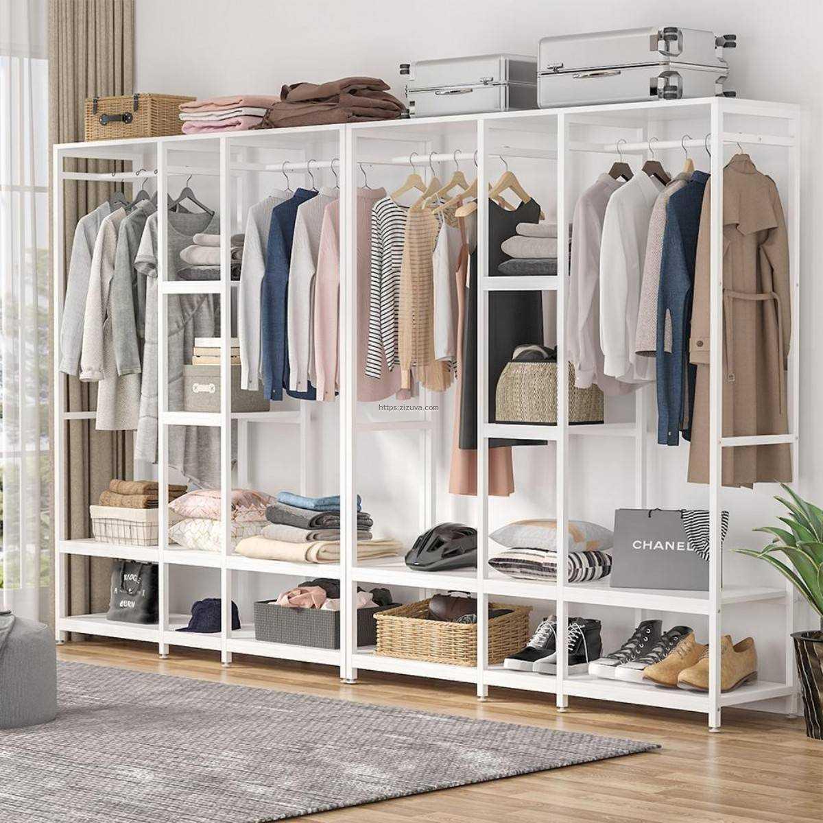 Zizuva Tasarım Beyaz Modern Raf Metal Ev Ofis Büro Elbise Düzenleyici Askılığı