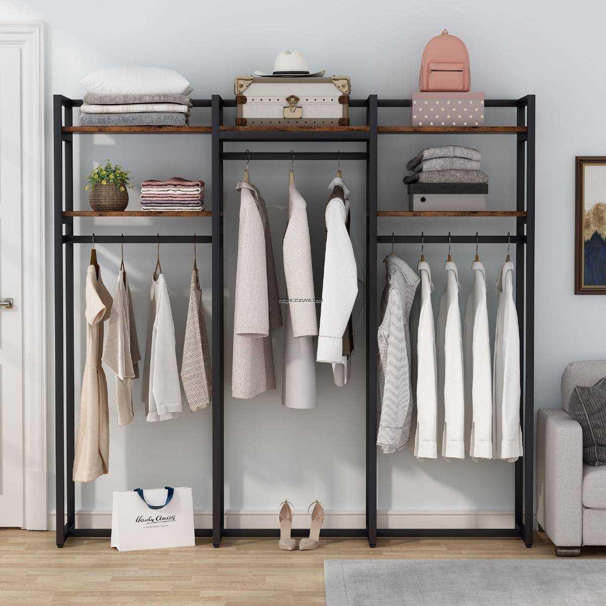 Zizuva Tasarım  3 Bölmeli Giyinme Odası Butik Ayakkabı Elbise Düzenleyici Modern Askılık