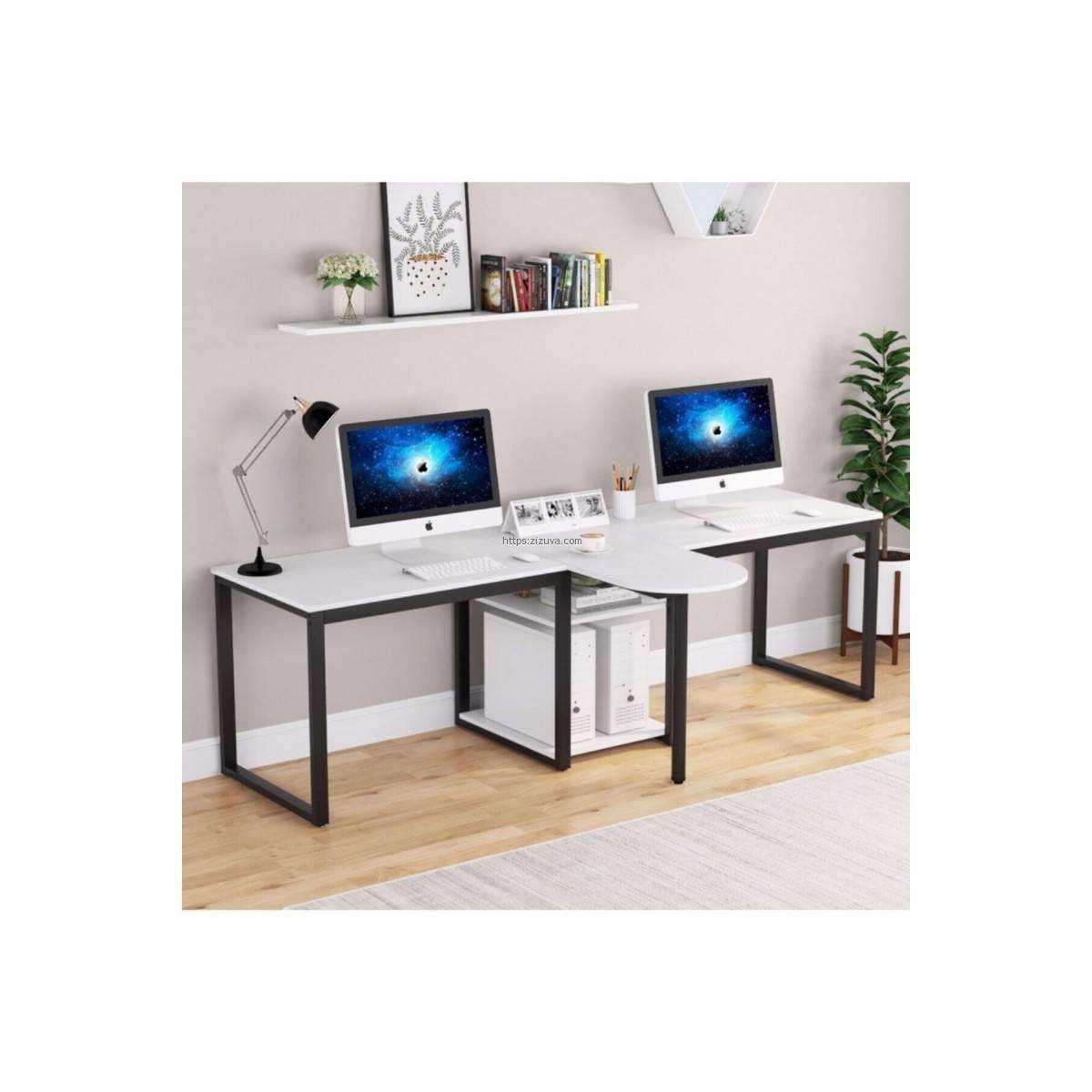 Zizuva Tasarım iki Kişilik Beyaz Çalışma Masası