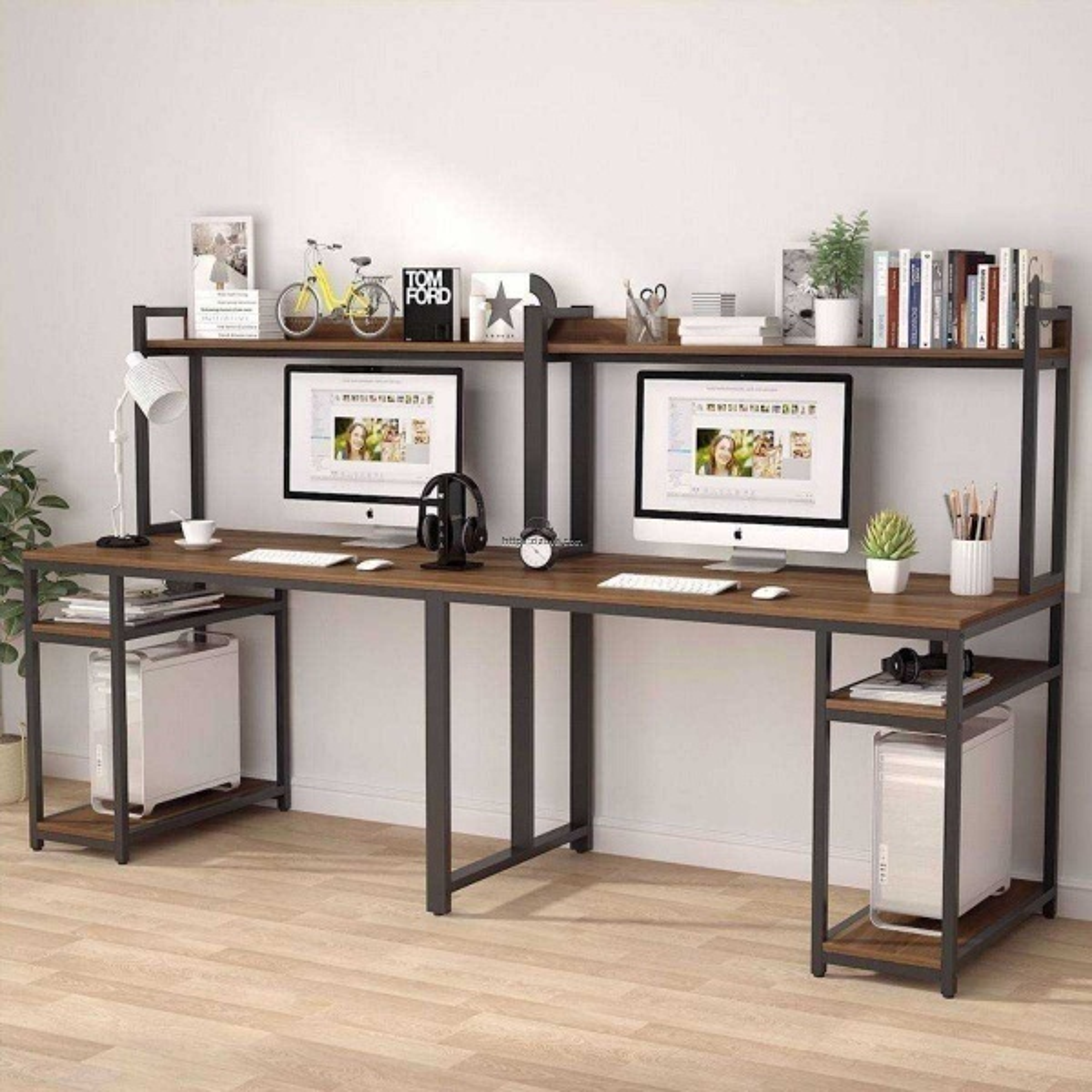 Zizuva Tasarım  İki Kişilik Çalışma Masası Ceviz