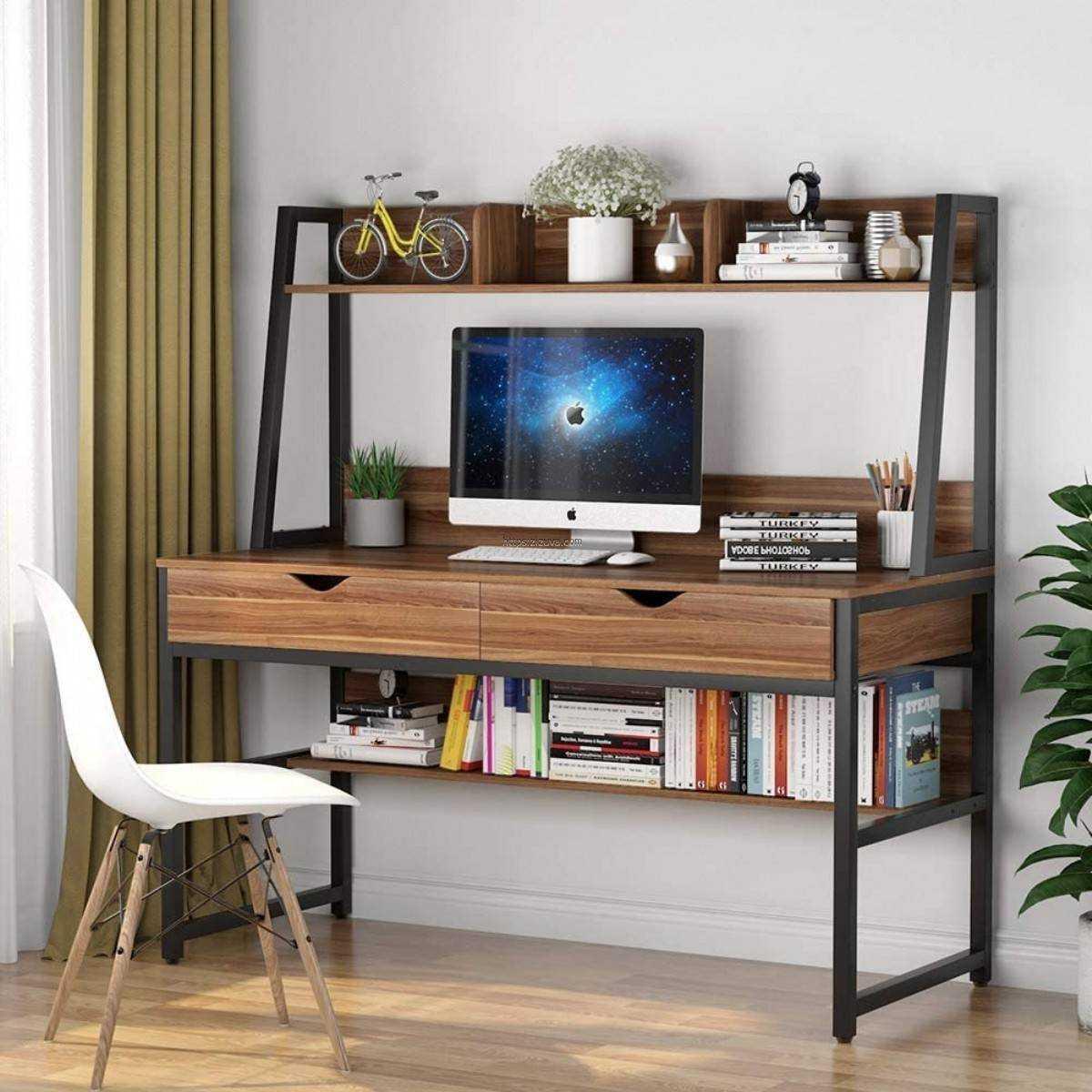 Zizuva Tasarım Ceviz Ev Ofis Bilgisayar Raflı Çekmeceli Kitaplıklı Metal Çalışma Masası