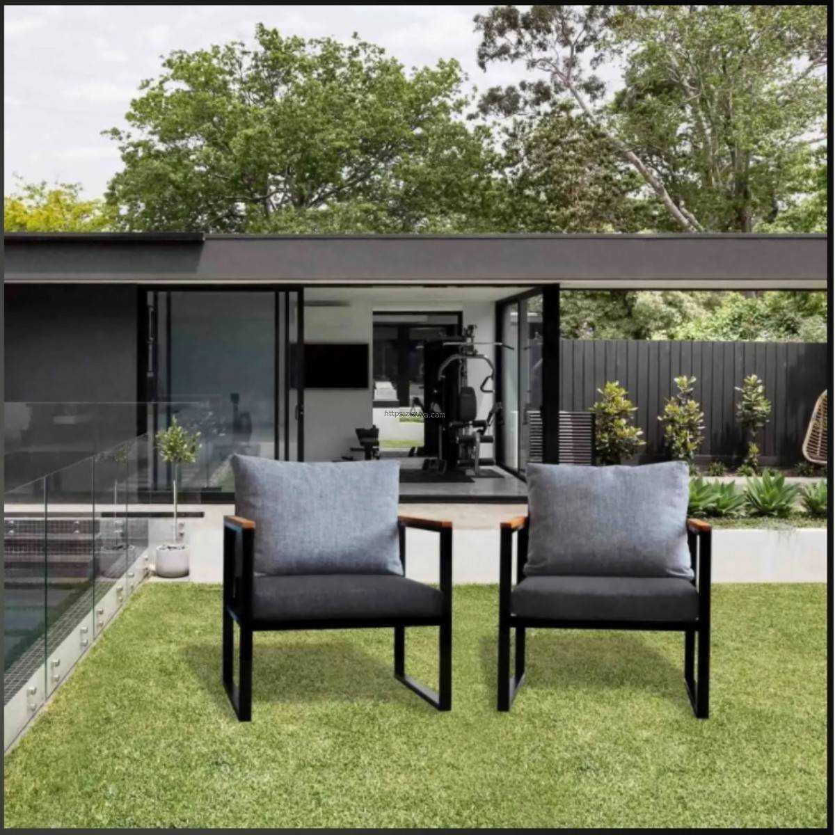 Zizuva Tasarım Tekli Garden  Bahçe Koltuğu ve Sehpa Set