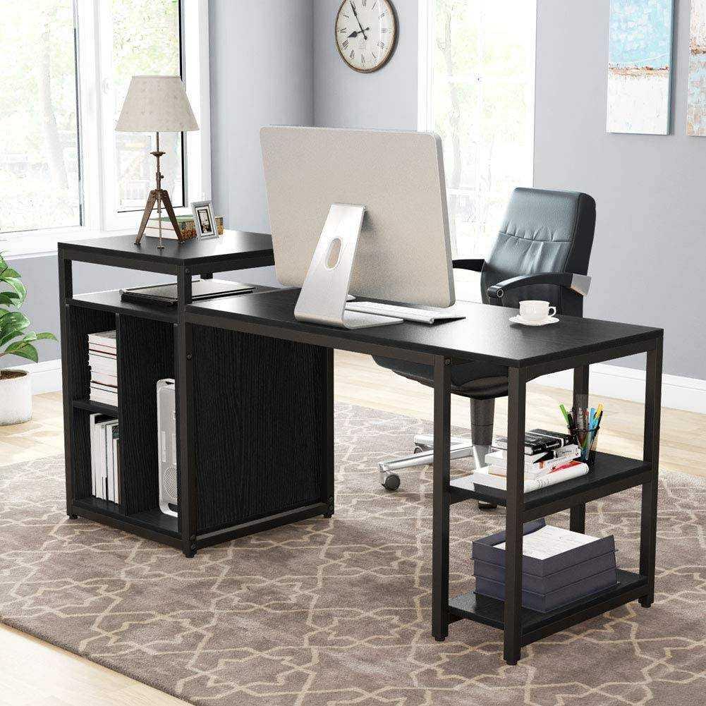 Zizuva Siyah Ev Ofis Raflı Bilgisayar Çalışma Masası