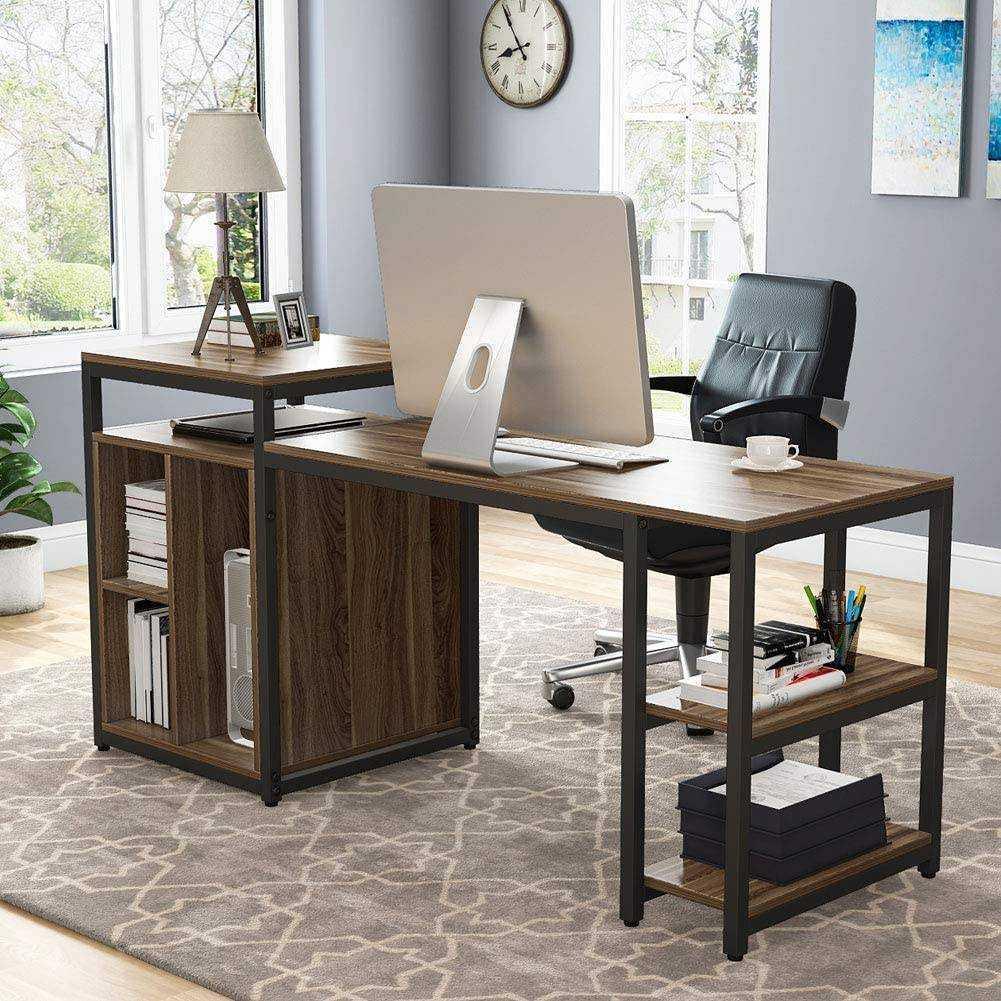 Zizuva Ceviz Ev Ofis Raflı Bilgisayar Çalışma Masası
