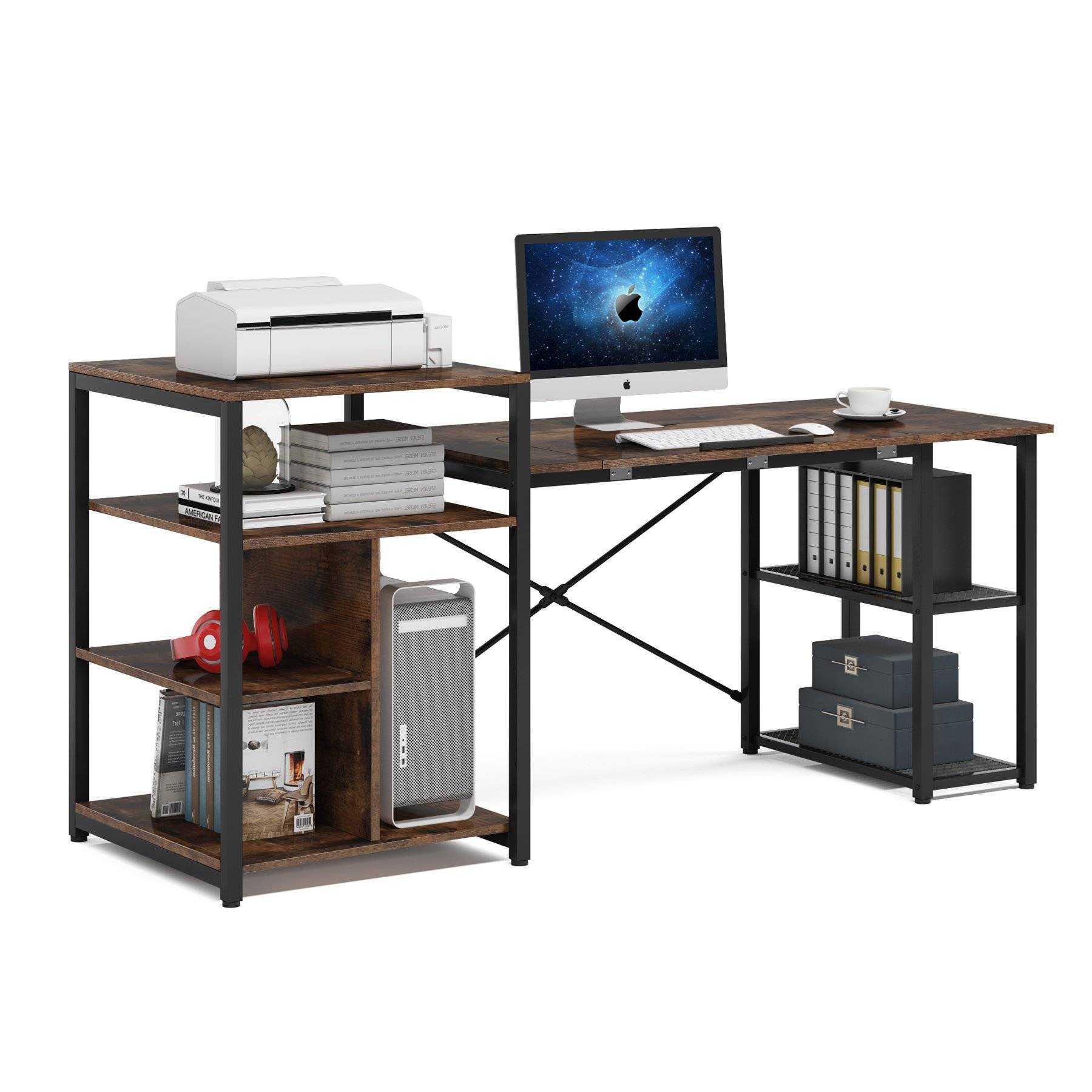 Zizuva Tasarım Ceviz Raflı Çizim Masası