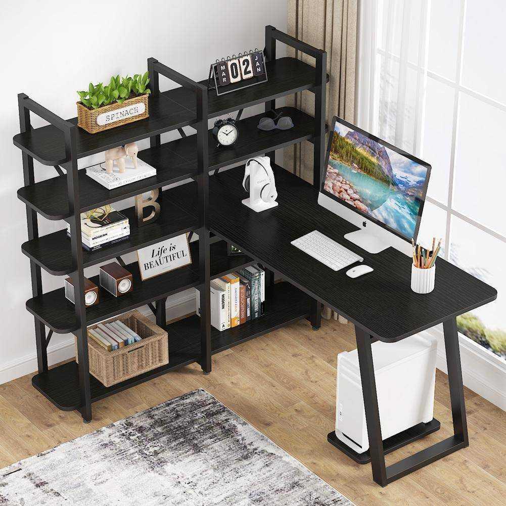 Zizuva Tasarım Siyah Kitaplıklı Raflı Çalışma Masası