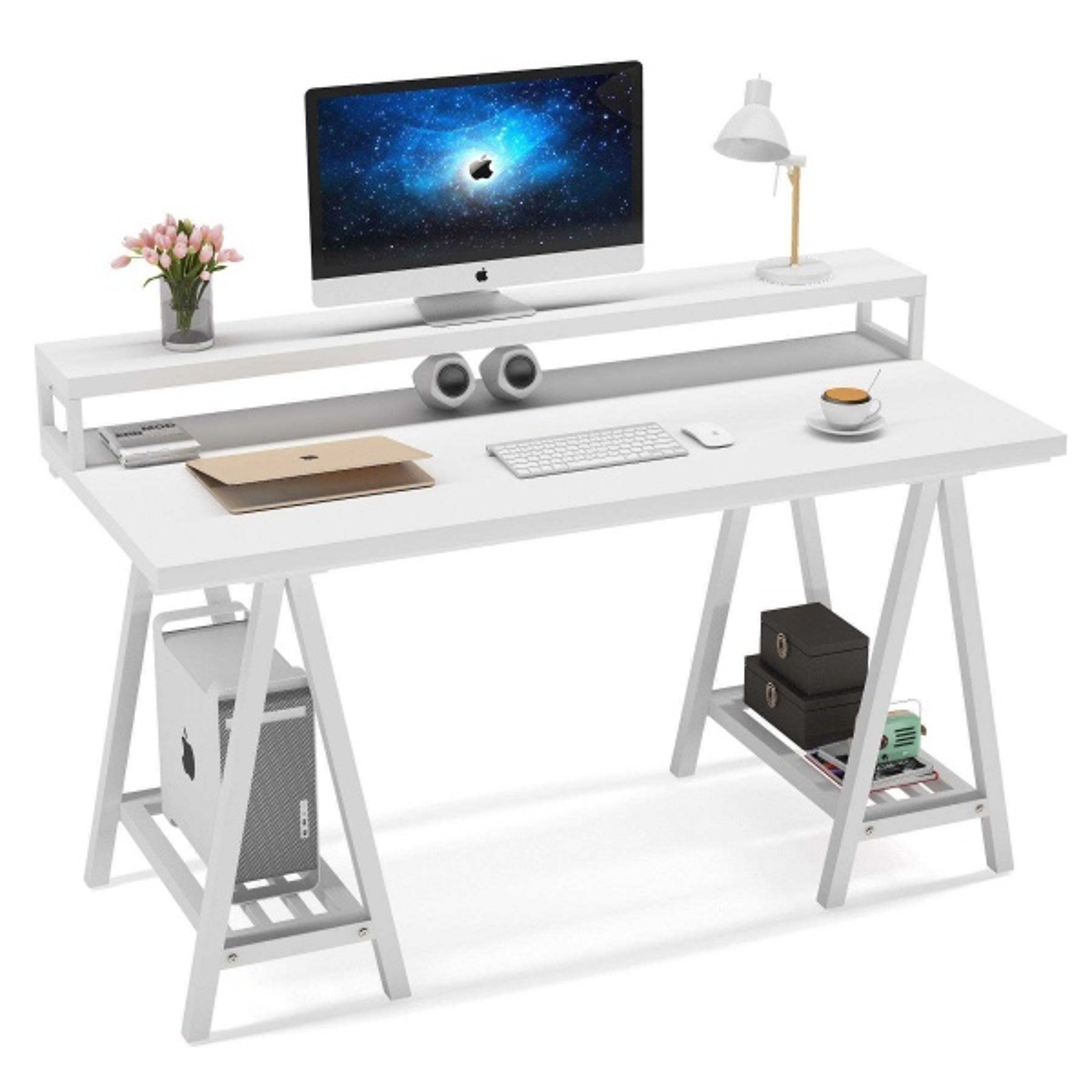 Zizuva Beyaz Tasarım Çalışma Masası
